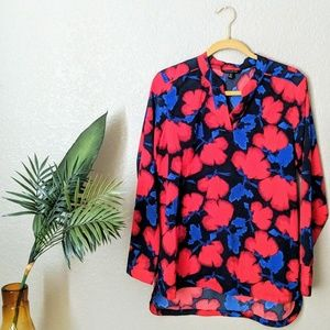 Banana Republic Black & Red Floral Blouse Sz M